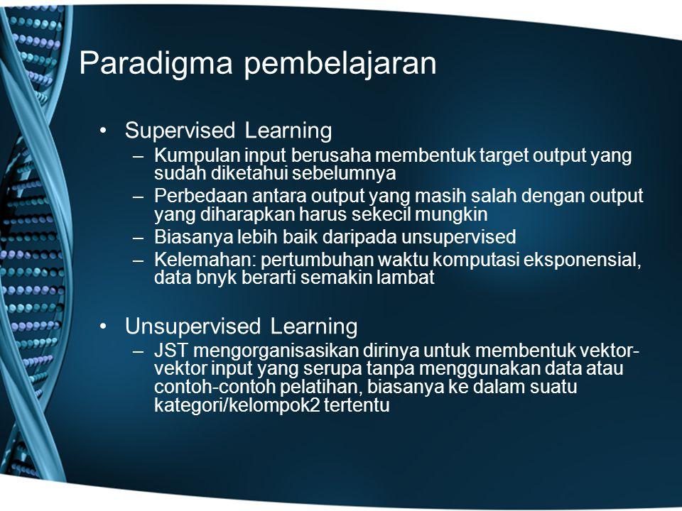 Paradigma pembelajaran Supervised Learning –Kumpulan input berusaha membentuk target output yang sudah diketahui sebelumnya –Perbedaan antara output yang masih salah dengan output yang diharapkan harus sekecil mungkin –Biasanya lebih baik daripada unsupervised –Kelemahan: pertumbuhan waktu komputasi eksponensial, data bnyk berarti semakin lambat Unsupervised Learning –JST mengorganisasikan dirinya untuk membentuk vektor- vektor input yang serupa tanpa menggunakan data atau contoh-contoh pelatihan, biasanya ke dalam suatu kategori/kelompok2 tertentu