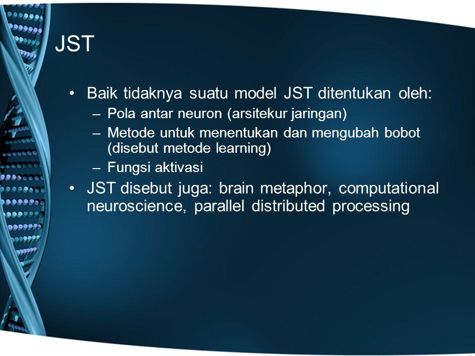 JST Baik tidaknya suatu model JST ditentukan oleh: –Pola antar neuron (arsitekur jaringan) –Metode untuk menentukan dan mengubah bobot (disebut metode learning) –Fungsi aktivasi JST disebut juga: brain metaphor, computational neuroscience, parallel distributed processing