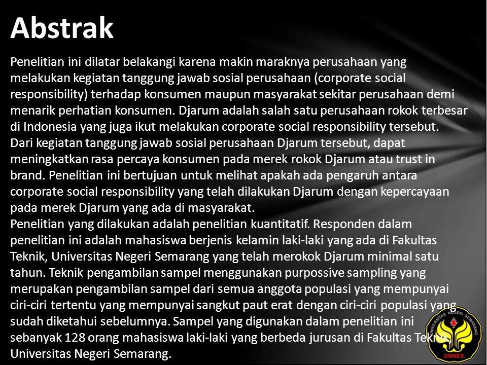 Abstrak Penelitian ini dilatar belakangi karena makin maraknya perusahaan yang melakukan kegiatan tanggung jawab sosial perusahaan (corporate social r