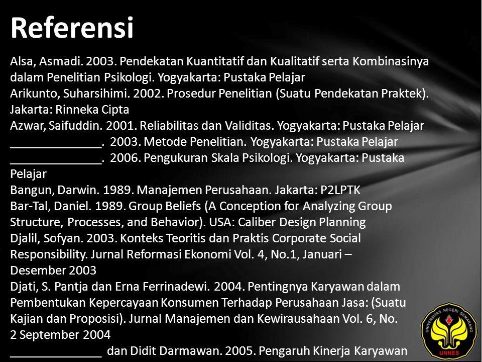 Referensi Alsa, Asmadi. 2003. Pendekatan Kuantitatif dan Kualitatif serta Kombinasinya dalam Penelitian Psikologi. Yogyakarta: Pustaka Pelajar Arikunt