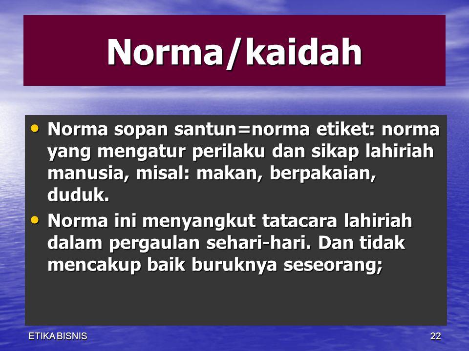 Norma/kaidah Norma sopan santun=norma etiket: norma yang mengatur perilaku dan sikap lahiriah manusia, misal: makan, berpakaian, duduk.