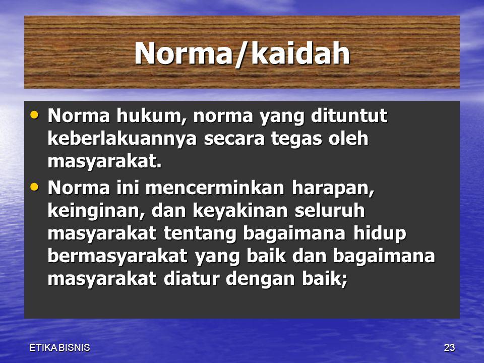 Norma/kaidah Norma hukum, norma yang dituntut keberlakuannya secara tegas oleh masyarakat. Norma hukum, norma yang dituntut keberlakuannya secara tega
