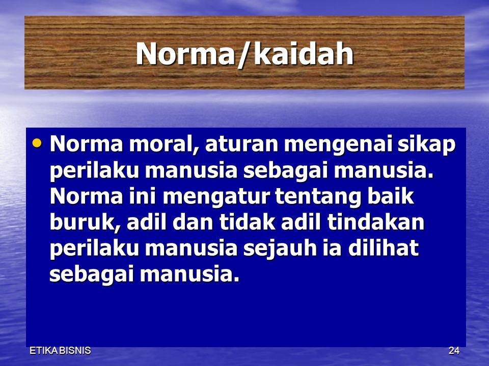 Norma/kaidah Norma moral, aturan mengenai sikap perilaku manusia sebagai manusia. Norma ini mengatur tentang baik buruk, adil dan tidak adil tindakan