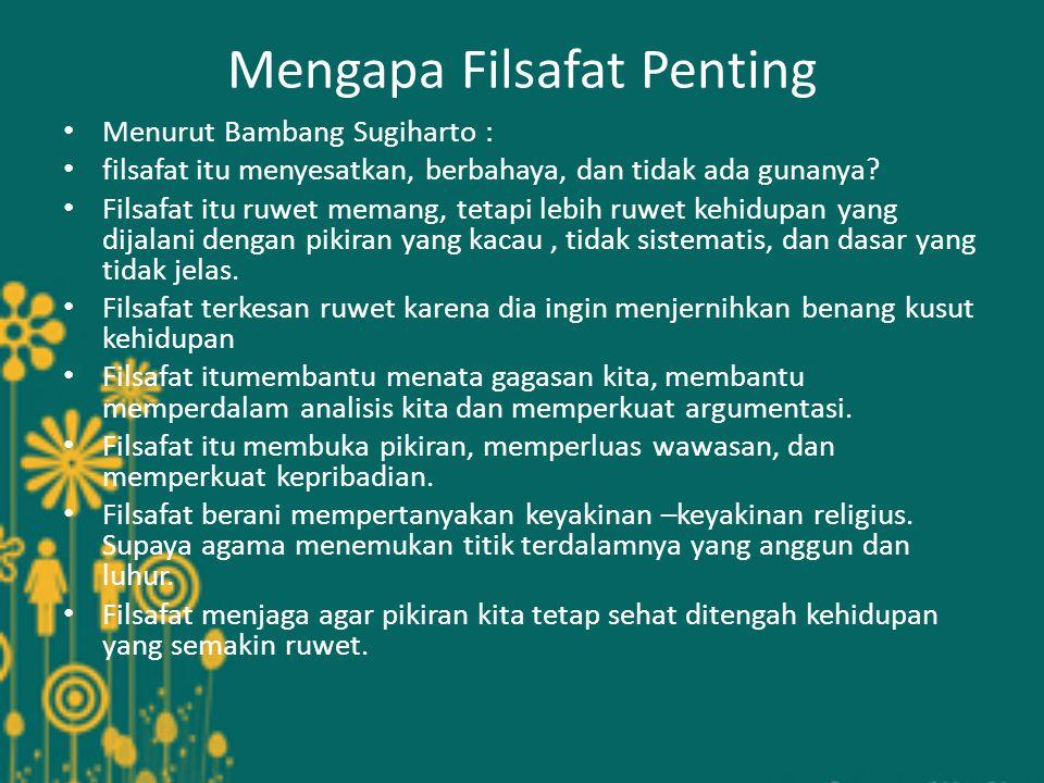 Mengapa Filsafat Penting Menurut Bambang Sugiharto : filsafat itu menyesatkan, berbahaya, dan tidak ada gunanya.