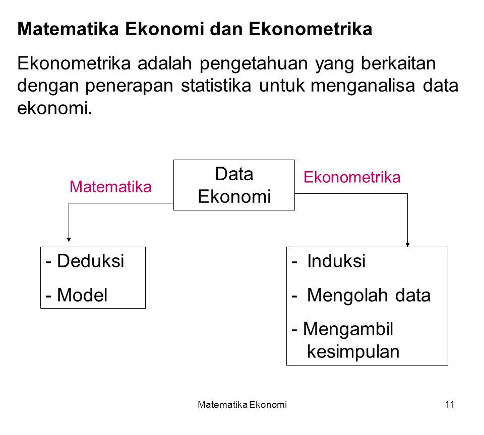 Matematika Ekonomi11 Matematika Ekonomi dan Ekonometrika Ekonometrika adalah pengetahuan yang berkaitan dengan penerapan statistika untuk menganalisa data ekonomi.