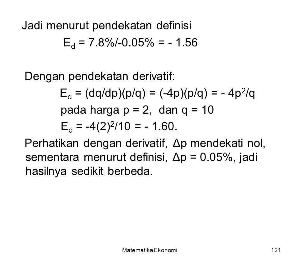 Matematika Ekonomi121 Jadi menurut pendekatan definisi E d = 7.8%/-0.05% = - 1.56 Dengan pendekatan derivatif: E d = (dq/dp)(p/q) = (-4p)(p/q) = - 4p 2 /q pada harga p = 2, dan q = 10 E d = -4(2) 2 /10 = - 1.60.