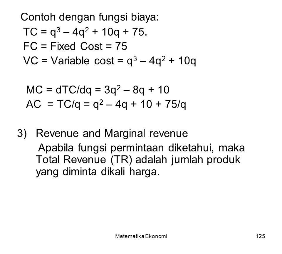 Matematika Ekonomi125 Contoh dengan fungsi biaya: TC = q 3 – 4q 2 + 10q + 75.