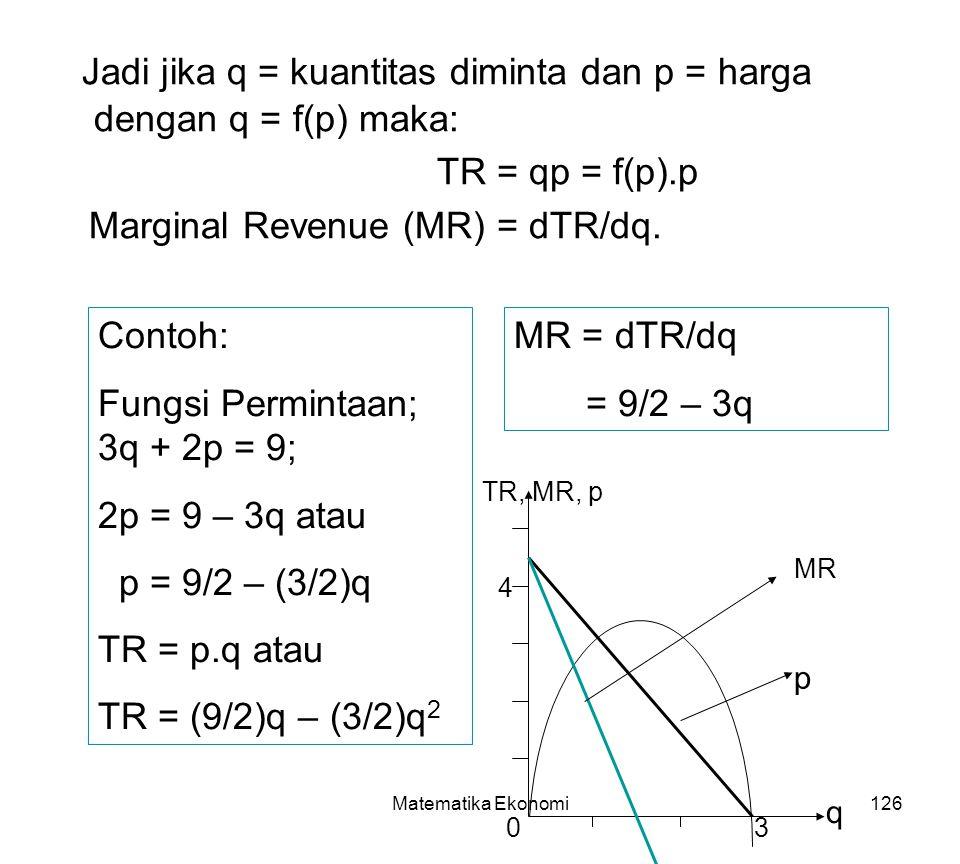 Matematika Ekonomi126 Jadi jika q = kuantitas diminta dan p = harga dengan q = f(p) maka: TR = qp = f(p).p Marginal Revenue (MR) = dTR/dq.