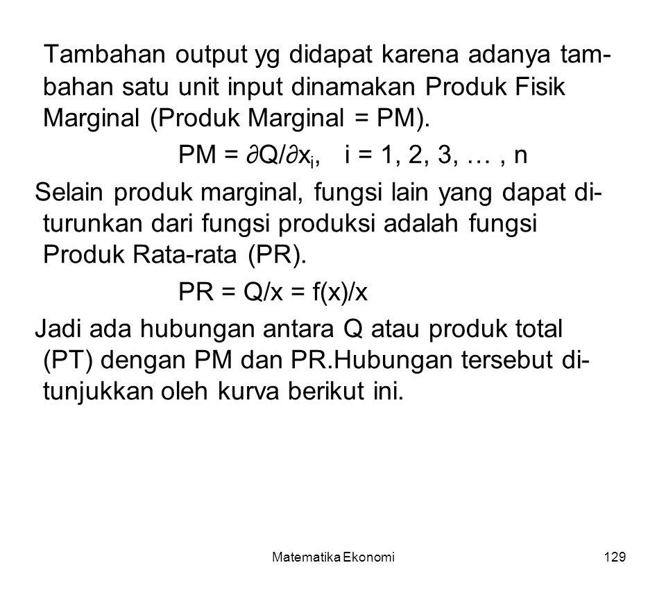 Matematika Ekonomi129 Tambahan output yg didapat karena adanya tam- bahan satu unit input dinamakan Produk Fisik Marginal (Produk Marginal = PM).