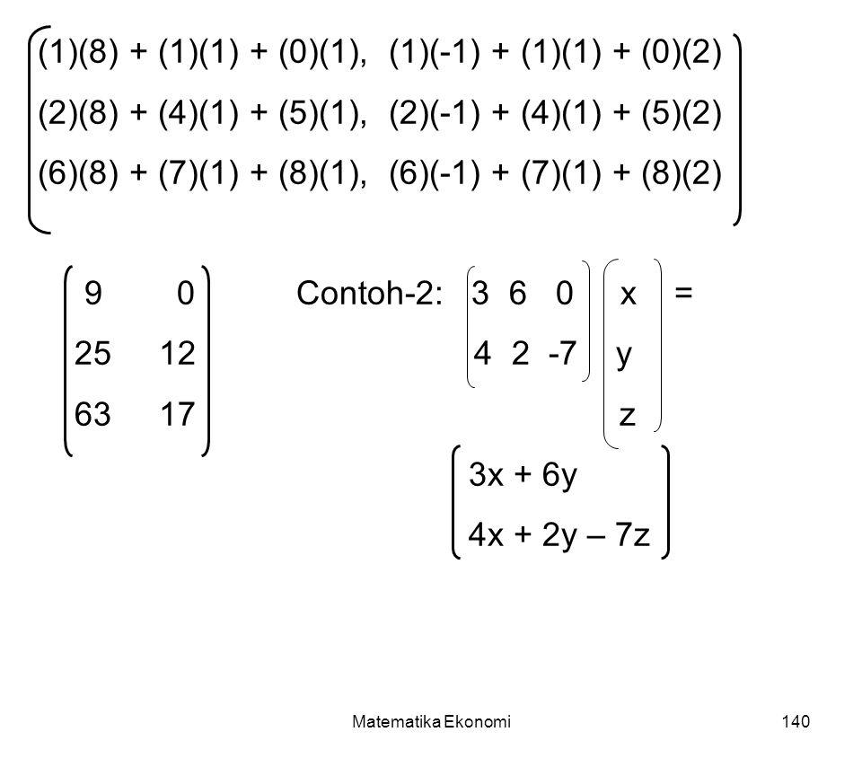 Matematika Ekonomi140 (1)(8) + (1)(1) + (0)(1), (1)(-1) + (1)(1) + (0)(2) (2)(8) + (4)(1) + (5)(1), (2)(-1) + (4)(1) + (5)(2) (6)(8) + (7)(1) + (8)(1), (6)(-1) + (7)(1) + (8)(2) 9 0Contoh-2: 3 6 0 x = 25 12 4 2 -7 y 63 17 z 3x + 6y 4x + 2y – 7z