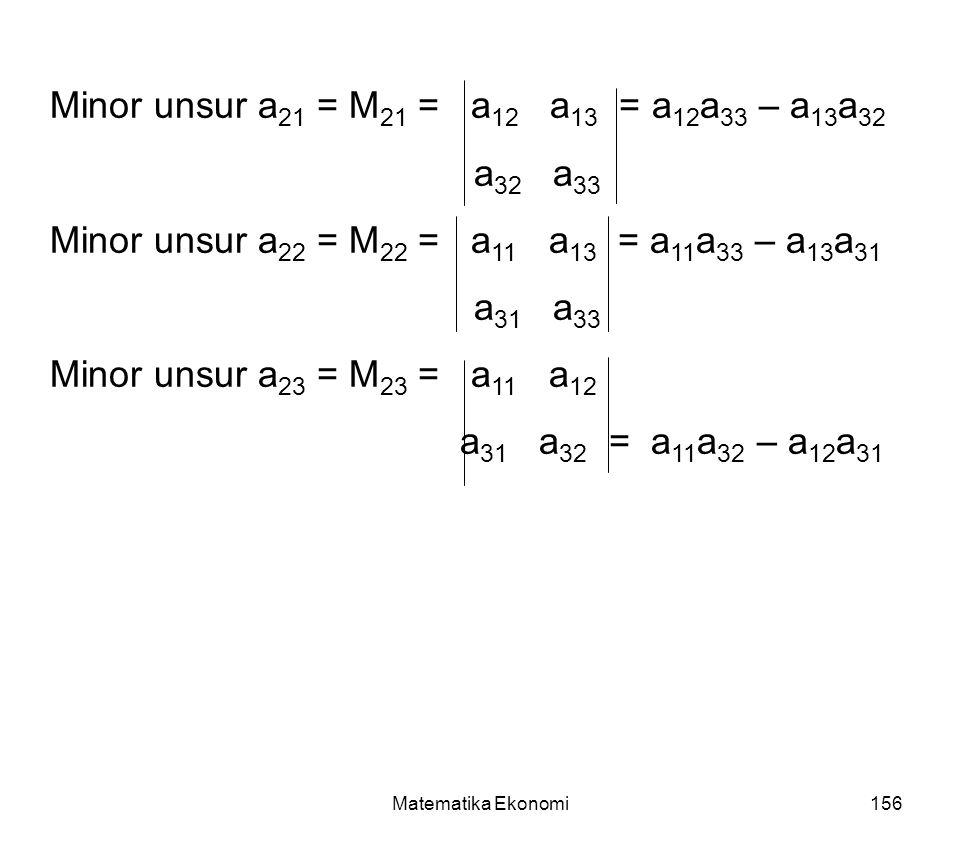 Matematika Ekonomi156 Minor unsur a 21 = M 21 = a 12 a 13 = a 12 a 33 – a 13 a 32 a 32 a 33 Minor unsur a 22 = M 22 = a 11 a 13 = a 11 a 33 – a 13 a 31 a 31 a 33 Minor unsur a 23 = M 23 = a 11 a 12 a 31 a 32 = a 11 a 32 – a 12 a 31