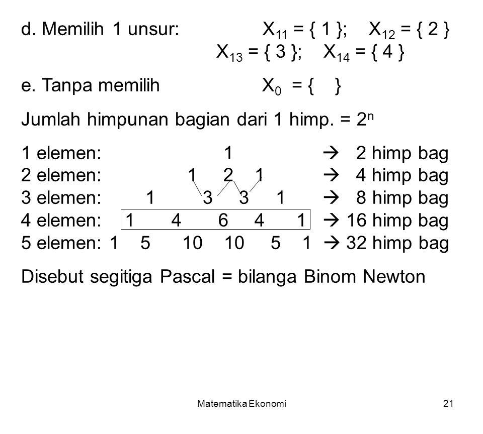 Matematika Ekonomi21 d.Memilih 1 unsur: X 11 = { 1 }; X 12 = { 2 } X 13 = { 3 }; X 14 = { 4 } e.