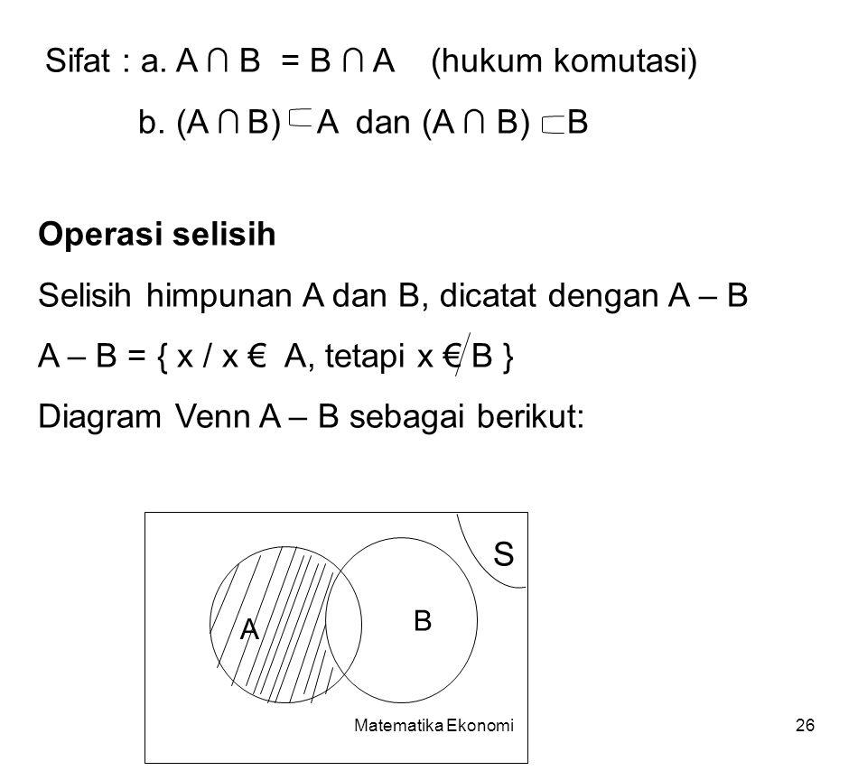 Matematika Ekonomi26 Sifat : a.A ∩ B = B ∩ A (hukum komutasi) b.