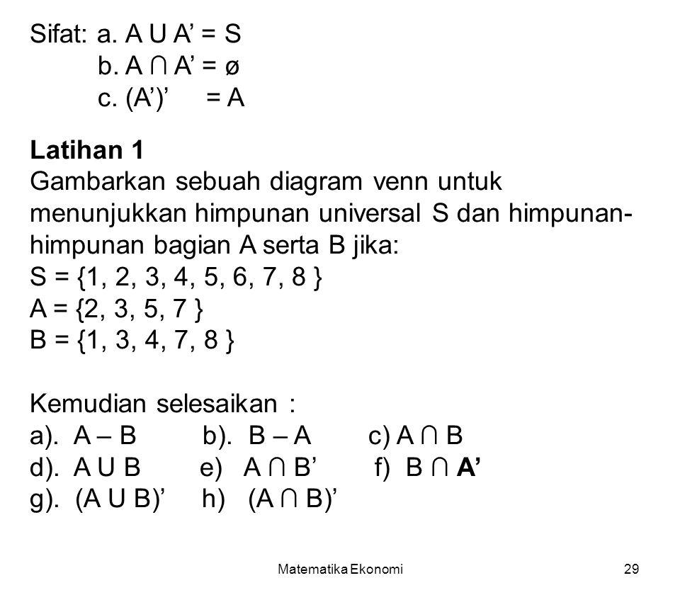 Matematika Ekonomi29 Sifat: a.A U A' = S b. A ∩ A' = ø c.