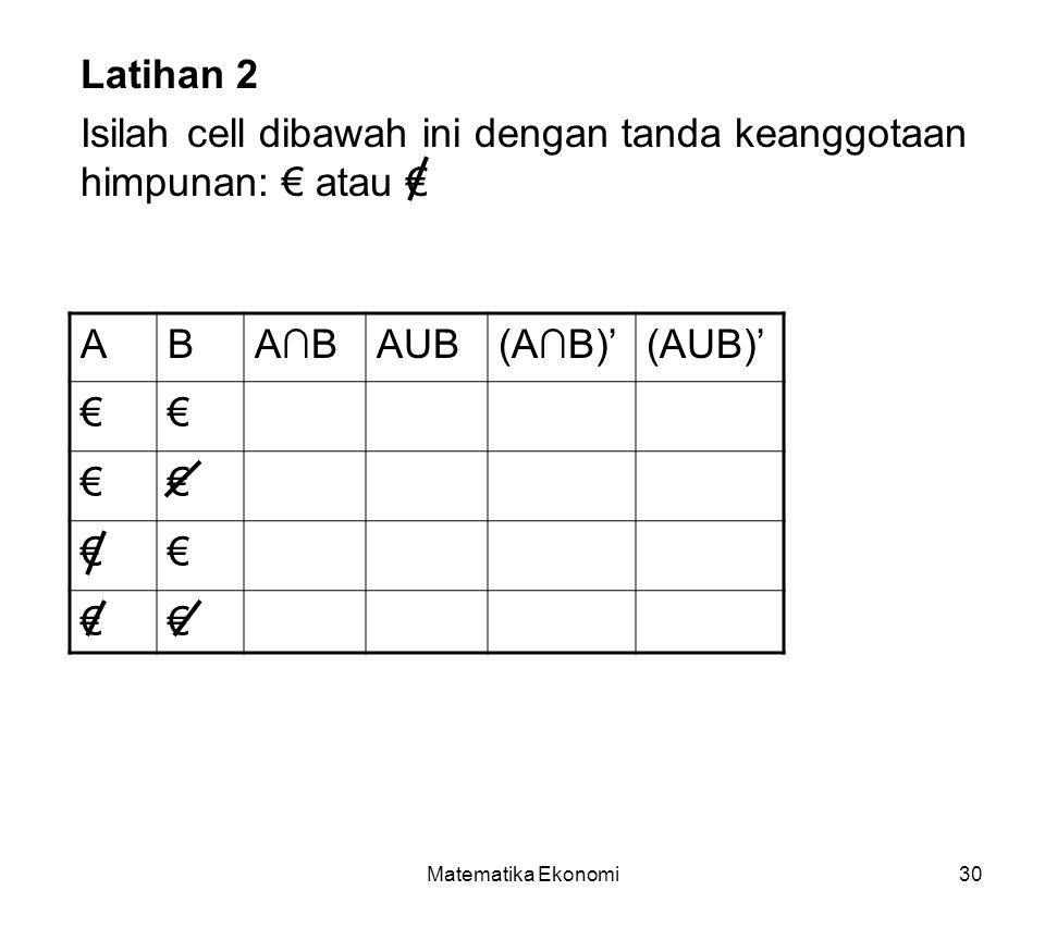 Matematika Ekonomi30 Latihan 2 Isilah cell dibawah ini dengan tanda keanggotaan himpunan: € atau € ABA∩BAUB(A∩B)'(AUB)' €€ €€ €€ €€