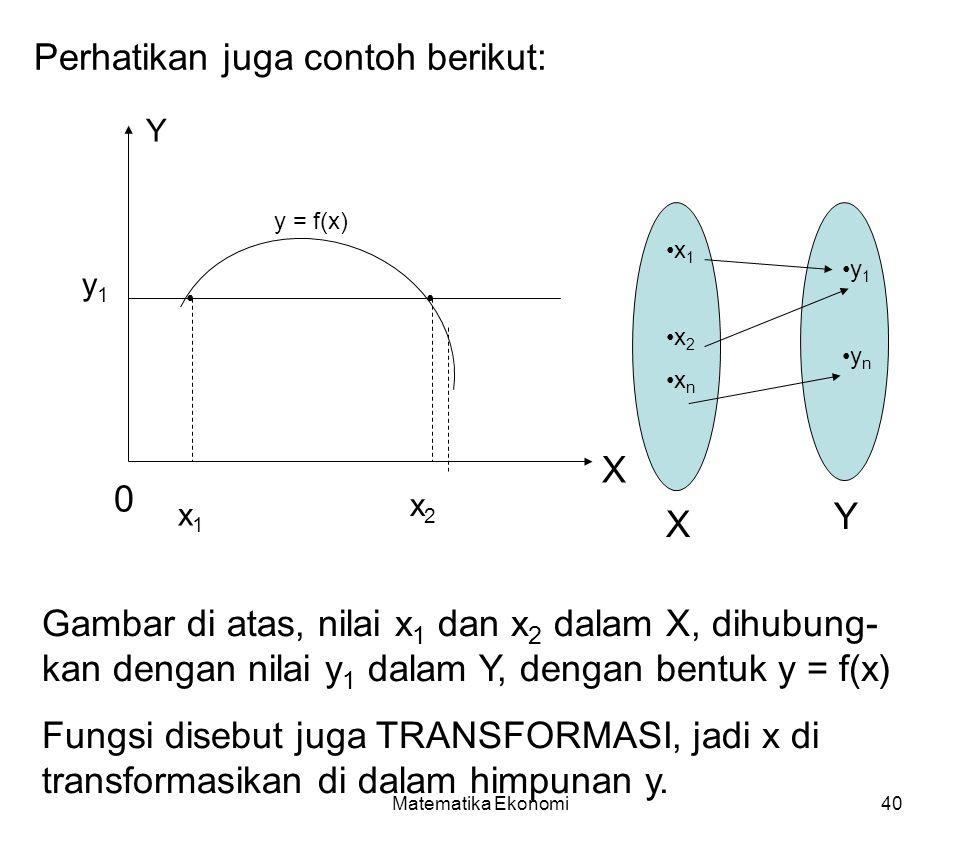Matematika Ekonomi40 Perhatikan juga contoh berikut: 0 x1x1 x2x2 X Y y1y1 y = f(x) x1x2xnx1x2xn y1yny1yn X Y Gambar di atas, nilai x 1 dan x 2 dalam X, dihubung- kan dengan nilai y 1 dalam Y, dengan bentuk y = f(x) Fungsi disebut juga TRANSFORMASI, jadi x di transformasikan di dalam himpunan y.