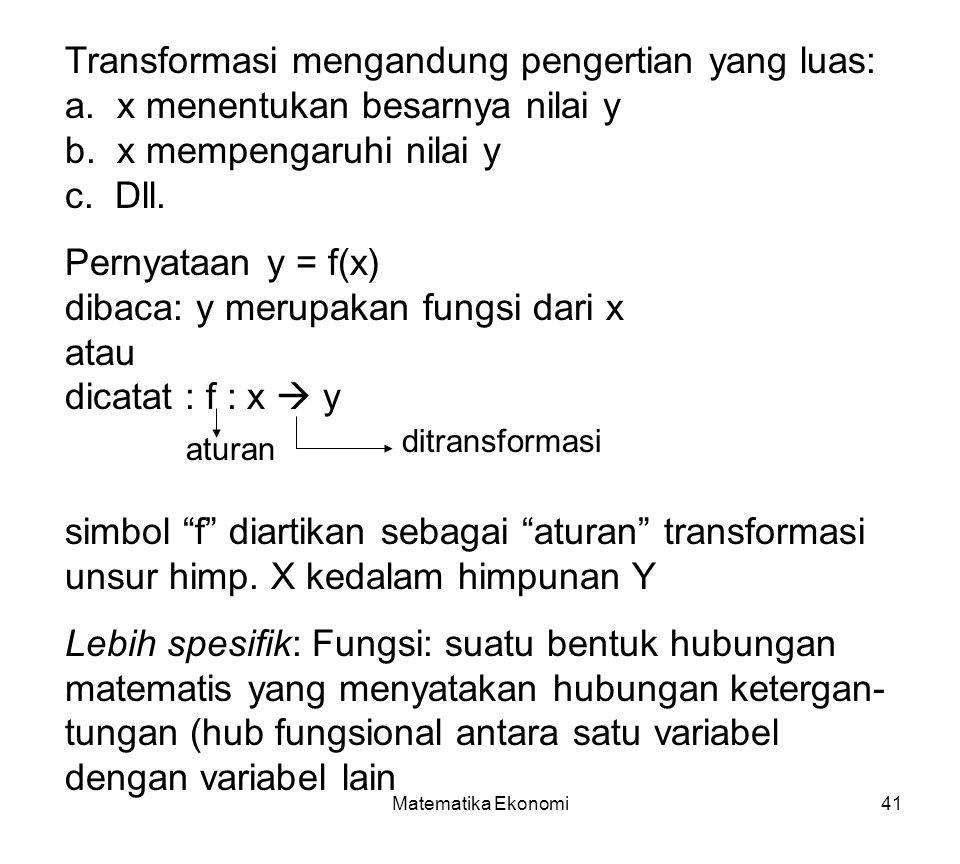 Matematika Ekonomi41 Transformasi mengandung pengertian yang luas: a.