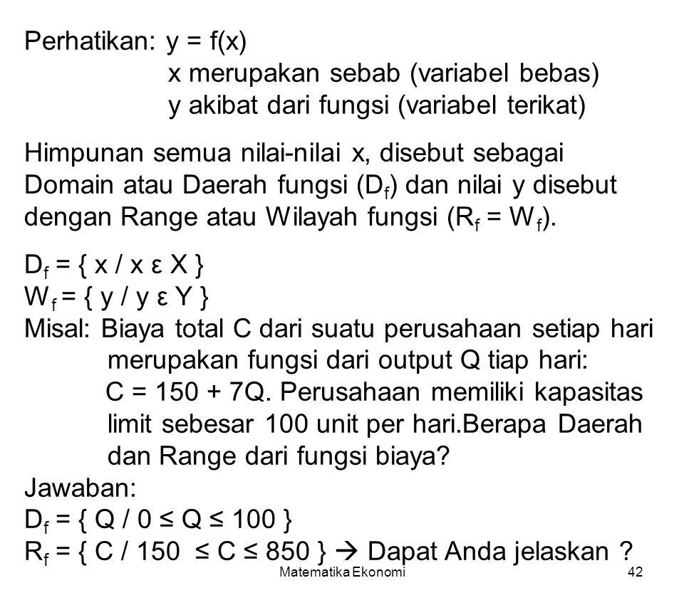 Matematika Ekonomi42 Perhatikan: y = f(x) x merupakan sebab (variabel bebas) y akibat dari fungsi (variabel terikat) Himpunan semua nilai-nilai x, disebut sebagai Domain atau Daerah fungsi (D f ) dan nilai y disebut dengan Range atau Wilayah fungsi (R f = W f ).