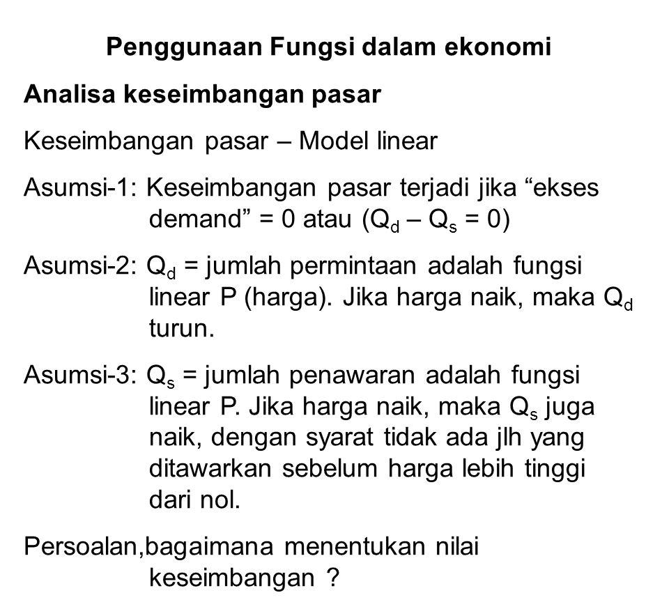 Penggunaan Fungsi dalam ekonomi Analisa keseimbangan pasar Keseimbangan pasar – Model linear Asumsi-1: Keseimbangan pasar terjadi jika ekses demand = 0 atau (Q d – Q s = 0) Asumsi-2: Q d = jumlah permintaan adalah fungsi linear P (harga).