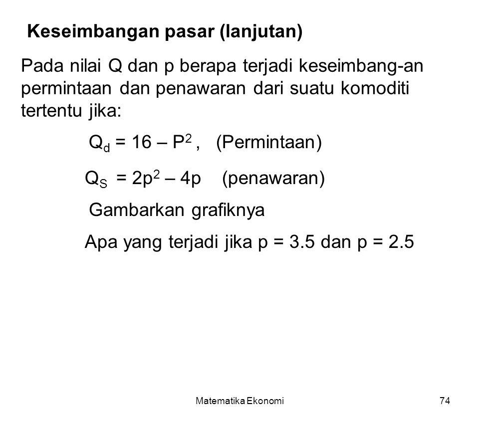 Matematika Ekonomi74 Keseimbangan pasar (lanjutan) Pada nilai Q dan p berapa terjadi keseimbang-an permintaan dan penawaran dari suatu komoditi tertentu jika: Q d = 16 – P 2, (Permintaan) Q S = 2p 2 – 4p (penawaran) Gambarkan grafiknya Apa yang terjadi jika p = 3.5 dan p = 2.5
