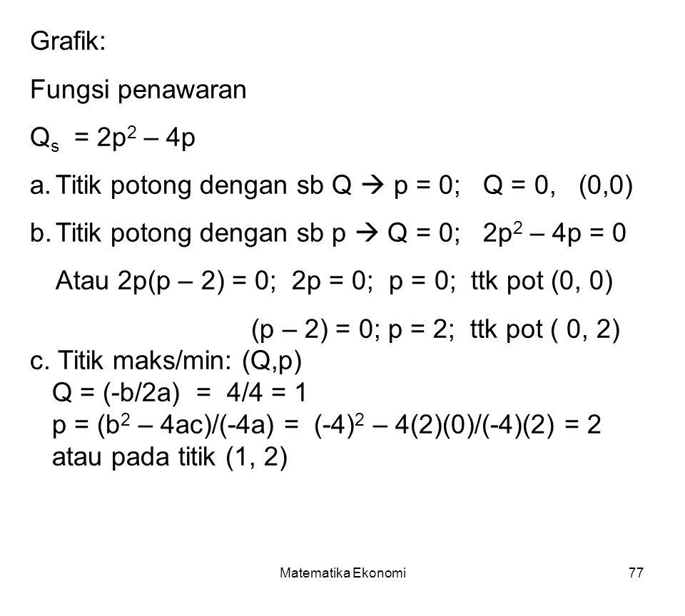 Matematika Ekonomi77 Grafik: Fungsi penawaran Q s = 2p 2 – 4p a.Titik potong dengan sb Q  p = 0; Q = 0, (0,0) b.Titik potong dengan sb p  Q = 0; 2p 2 – 4p = 0 Atau 2p(p – 2) = 0; 2p = 0; p = 0; ttk pot (0, 0) (p – 2) = 0; p = 2; ttk pot ( 0, 2) c.