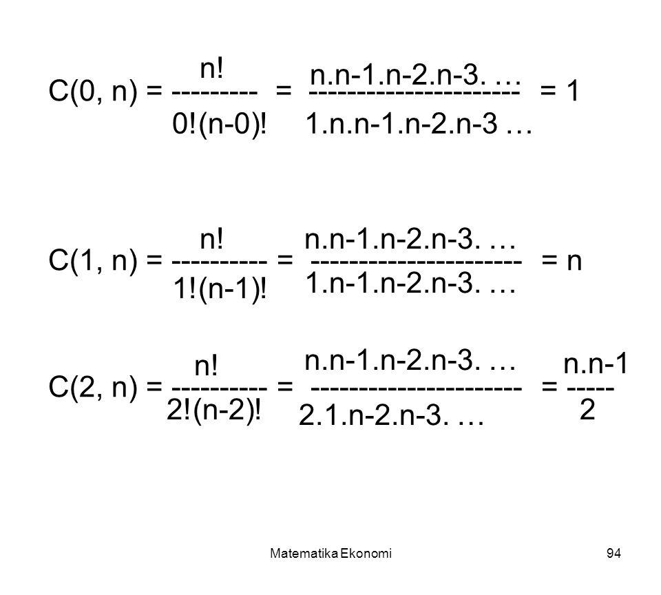 Matematika Ekonomi94 C(0, n) = --------- = ---------------------- = 1 C(1, n) = ---------- = ---------------------- = n C(2, n) = ---------- = ---------------------- = ----- n.