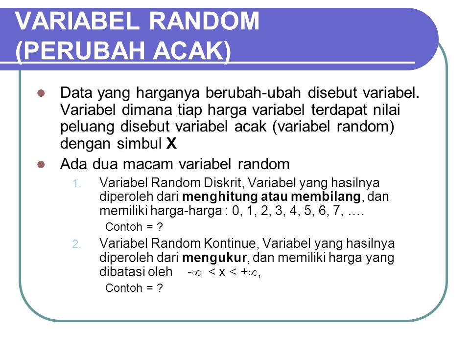VARIABEL RANDOM (PERUBAH ACAK) Data yang harganya berubah-ubah disebut variabel. Variabel dimana tiap harga variabel terdapat nilai peluang disebut va