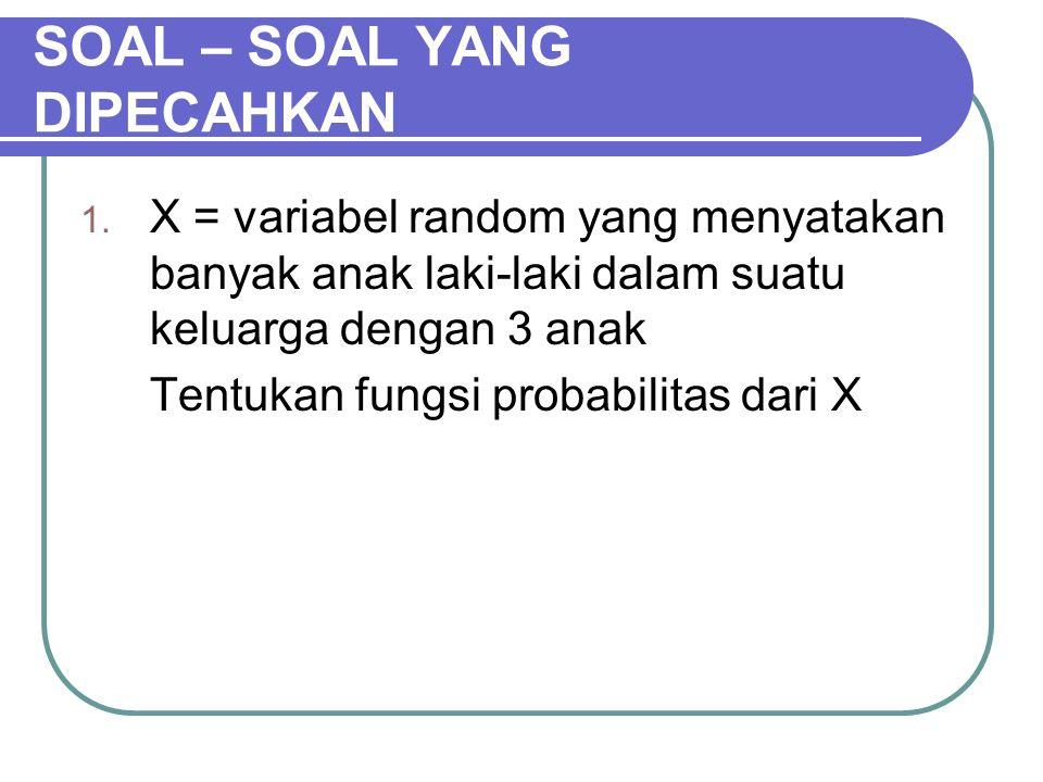 SOAL – SOAL YANG DIPECAHKAN 1. X = variabel random yang menyatakan banyak anak laki-laki dalam suatu keluarga dengan 3 anak Tentukan fungsi probabilit