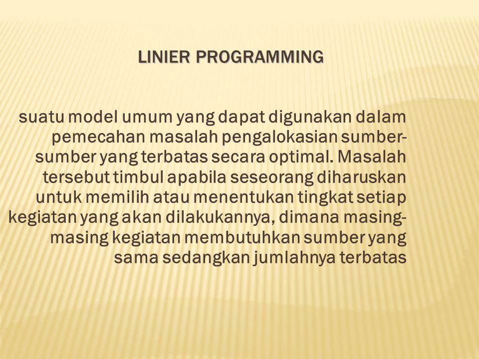 LINIER PROGRAMMING suatu model umum yang dapat digunakan dalam pemecahan masalah pengalokasian sumber- sumber yang terbatas secara optimal. Masalah te