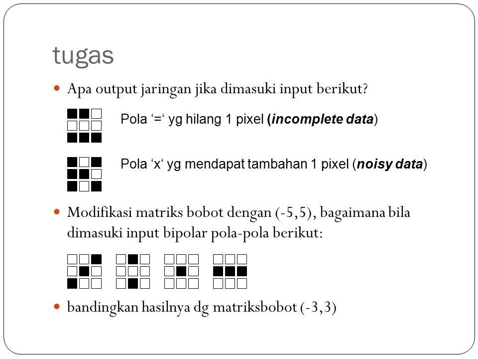 project Buatlah Program yang mengimplementasikan jaringan hopfield diskrit yang menyimpan cukup salah satu pola numerik berikut: Dengan menyimpan satu pola, berapa banyak pola numerik yg dapat dipanggil kembali secara tepat.