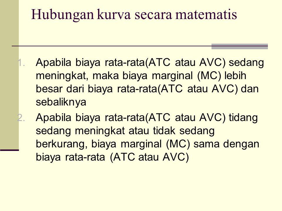 Soal 1.1. Untuk memproduksi barang A fungsi biaya total adalah TC = jika TC = 50, a.
