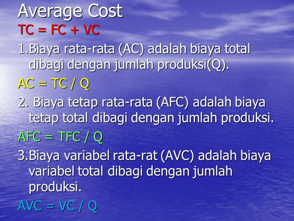 AVERAGE COST Output (Q) CostCost AFC AVC AC