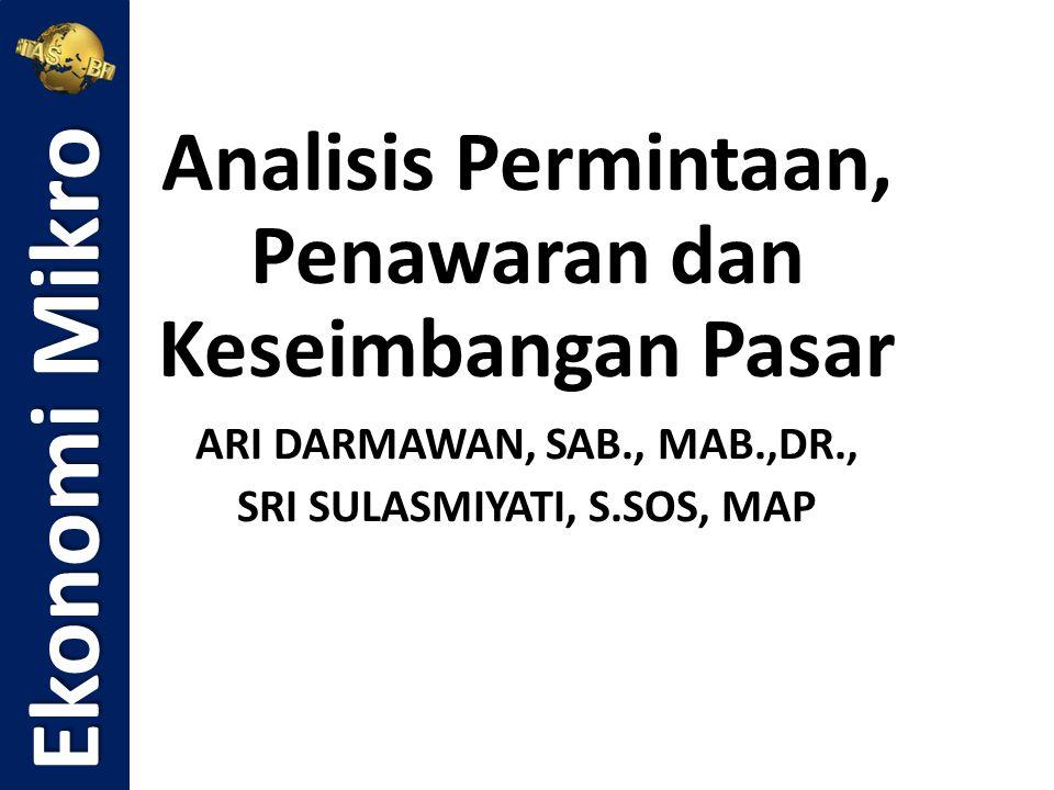 Analisis Permintaan, Penawaran dan Keseimbangan Pasar ARI DARMAWAN, SAB., MAB.,DR., SRI SULASMIYATI, S.SOS, MAP Ekonomi Mikro
