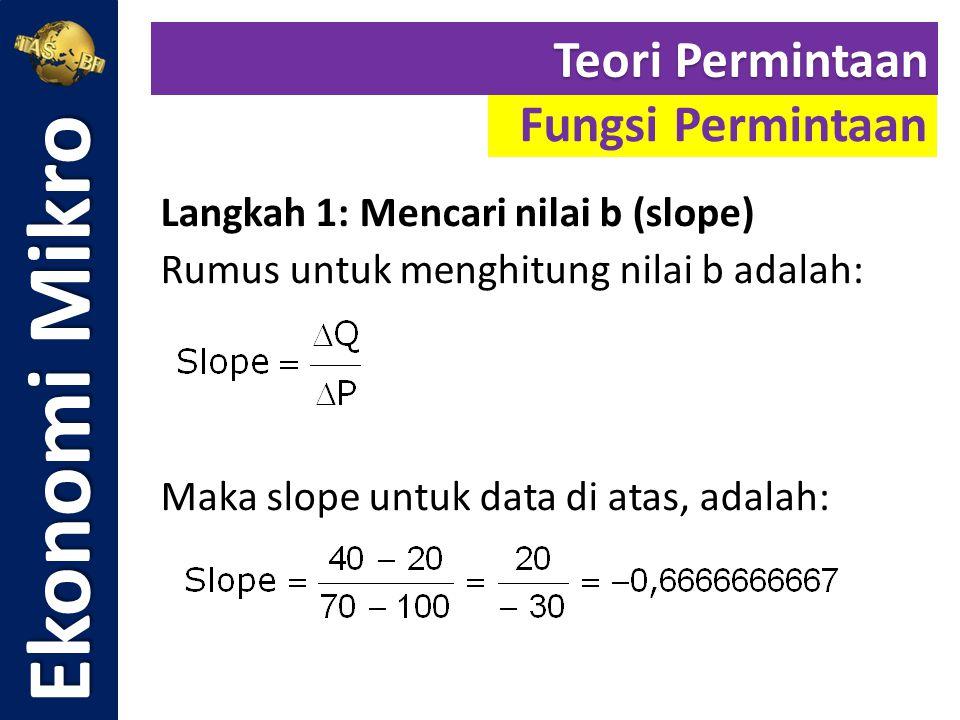Langkah 1: Mencari nilai b (slope) Rumus untuk menghitung nilai b adalah: Maka slope untuk data di atas, adalah: Ekonomi Mikro Fungsi Permintaan Teori