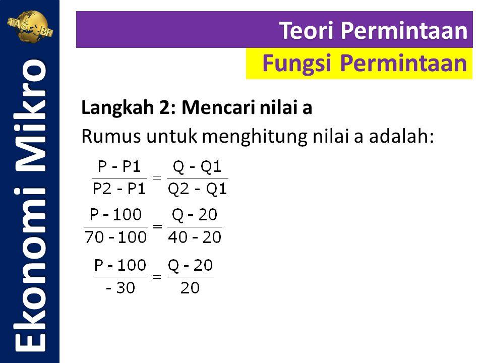 Langkah 2: Mencari nilai a Rumus untuk menghitung nilai a adalah: Ekonomi Mikro Fungsi Permintaan Teori Permintaan