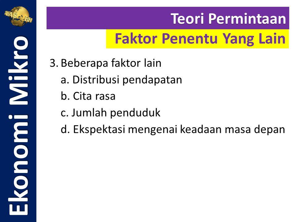 Ekonomi Mikro Faktor Penentu Yang Lain Teori Permintaan 3.Beberapa faktor lain a. Distribusi pendapatan b. Cita rasa c. Jumlah penduduk d. Ekspektasi