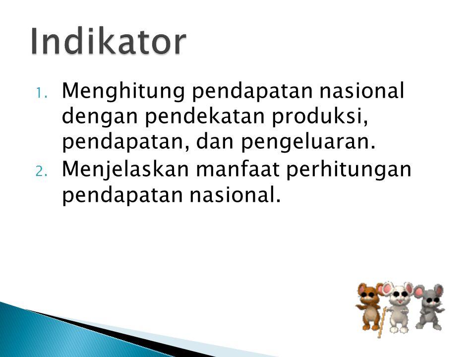 1. Menghitung pendapatan nasional dengan pendekatan produksi, pendapatan, dan pengeluaran. 2. Menjelaskan manfaat perhitungan pendapatan nasional.