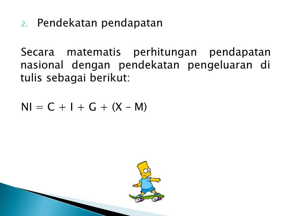 2. Pendekatan pendapatan Secara matematis perhitungan pendapatan nasional dengan pendekatan pengeluaran di tulis sebagai berikut: NI = C + I + G + (X