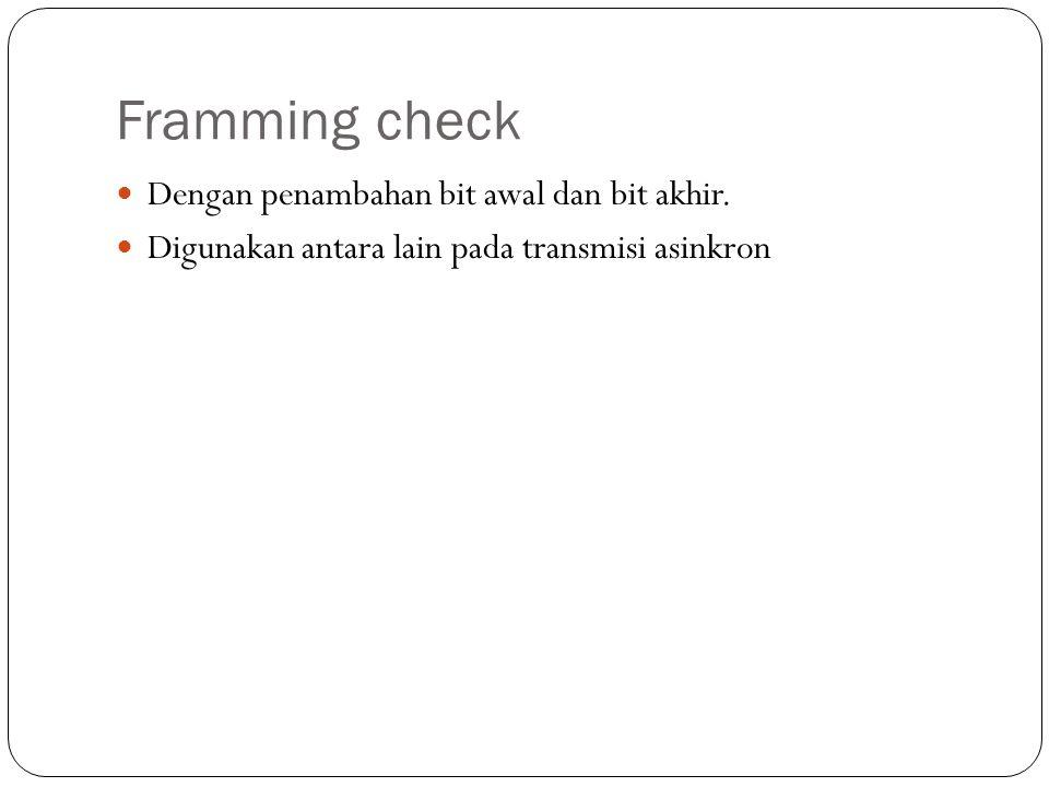 Framming check Dengan penambahan bit awal dan bit akhir. Digunakan antara lain pada transmisi asinkron