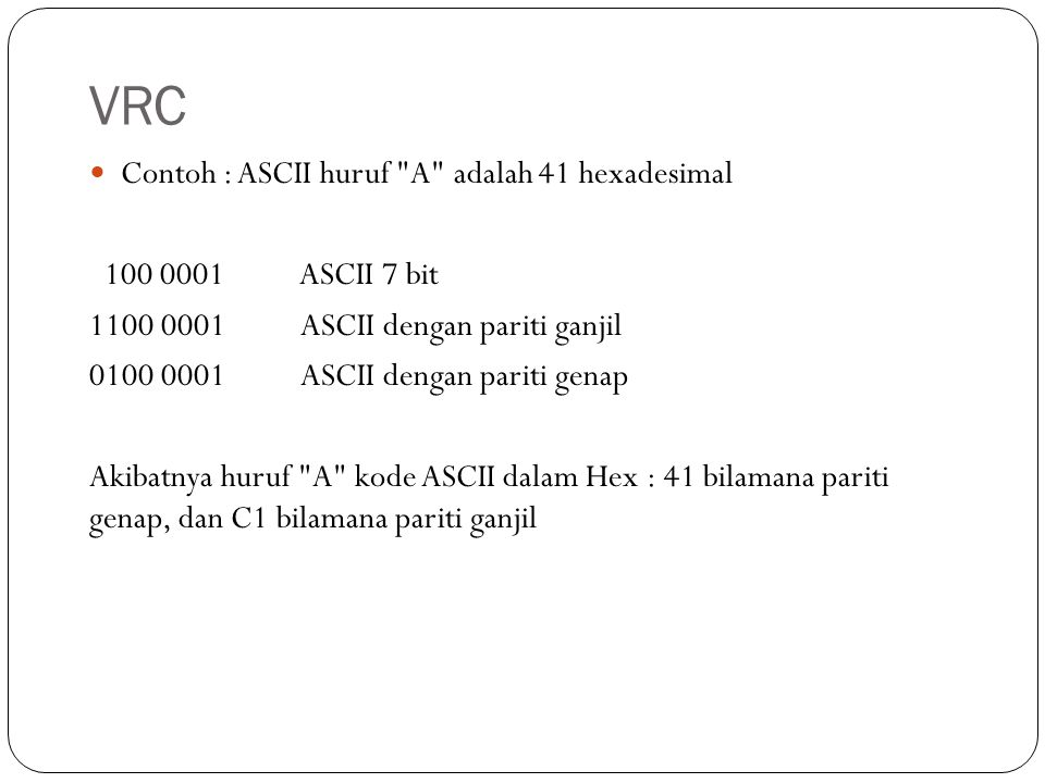 VRC Contoh : ASCII huruf