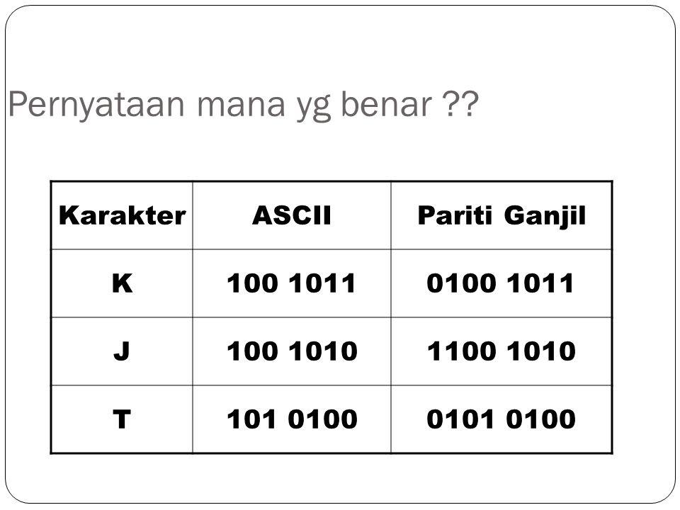 KarakterASCIIPariti Ganjil K100 10110100 1011 J100 10101100 1010 T101 01000101 0100 Pernyataan mana yg benar ??