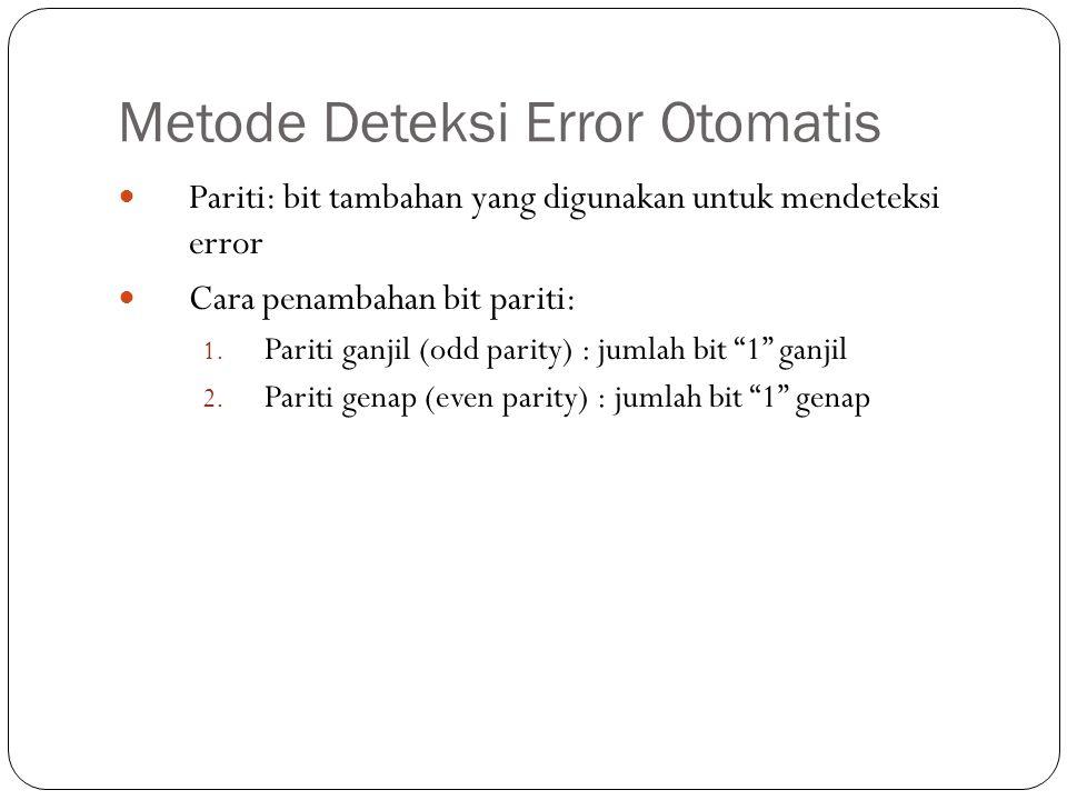 Metode Deteksi Error Otomatis Pariti: bit tambahan yang digunakan untuk mendeteksi error Cara penambahan bit pariti: 1. Pariti ganjil (odd parity) : j