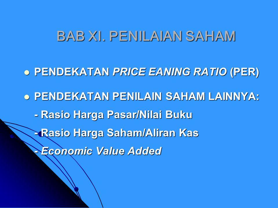 NILAI BUKU, INTRINSIK, PASAR Dalam penilaian saham dikenal adanya tiga jenis nilai: yaitu nilai buku, nilai intrinsik dan nilai pasar.