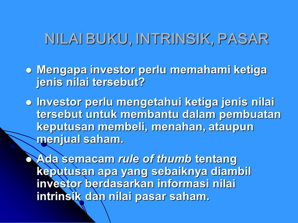 NILAI BUKU, INTRINSIK, PASAR Jika nilai pasar > nilai intrinsik, berati saham tersebut overvalued, dan investor sebaiknya menjual saham tersebut.