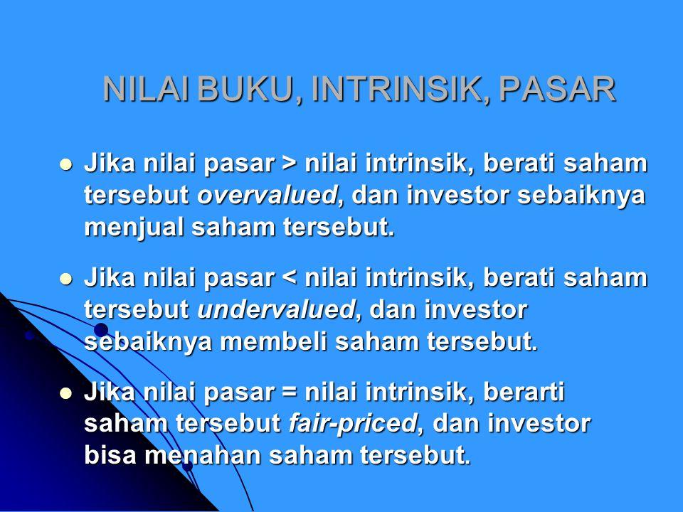PENENTUAN NILAI INTRINSIK SAHAM Tidak seperti nilai pasar (yang bisa dilihat dari harga saham di pasar), nilai intrinsik suatu saham hanya bisa diperkirakan dengan pendekatan tertentu.