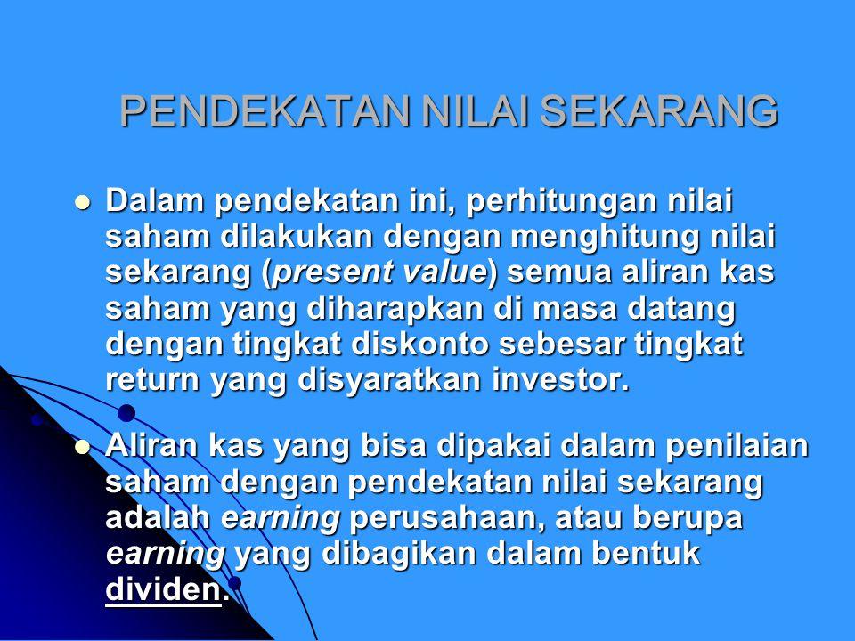 MODEL DISKONTO DIVIDEN (MDD) MDD merupakan model untuk mengestimasi harga saham dengan mendiskontokan semua aliran dividen yang akan diterima di masa datang.