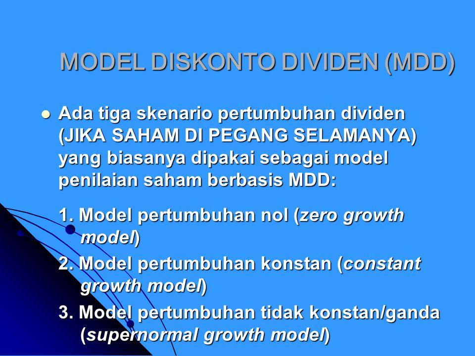 MODEL PERTUMBUHAN NOL Model ini berasumsi bahwa dividen yang dibayarkan perusahaan tidak akan mengalami pertumbuhan (tetap dari waktu ke waktu).