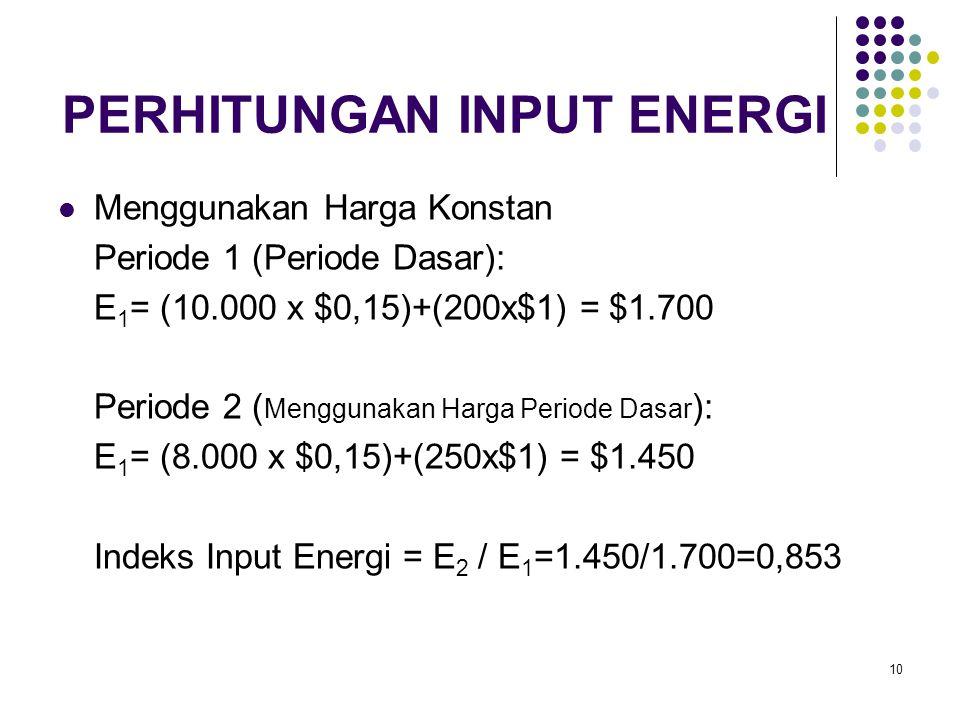 10 PERHITUNGAN INPUT ENERGI Menggunakan Harga Konstan Periode 1 (Periode Dasar): E 1 = (10.000 x $0,15)+(200x$1) = $1.700 Periode 2 ( Menggunakan Harg