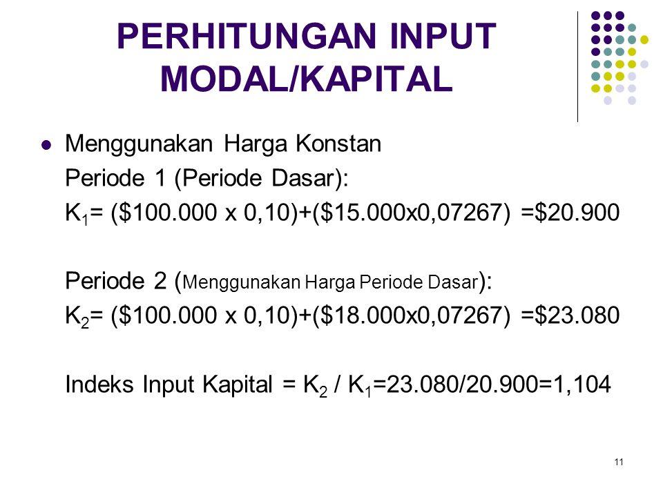11 PERHITUNGAN INPUT MODAL/KAPITAL Menggunakan Harga Konstan Periode 1 (Periode Dasar): K 1 = ($100.000 x 0,10)+($15.000x0,07267) =$20.900 Periode 2 (
