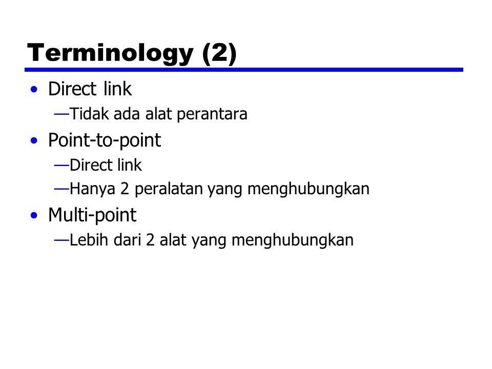 Terminology (2) Direct link —Tidak ada alat perantara Point-to-point —Direct link —Hanya 2 peralatan yang menghubungkan Multi-point —Lebih dari 2 alat yang menghubungkan